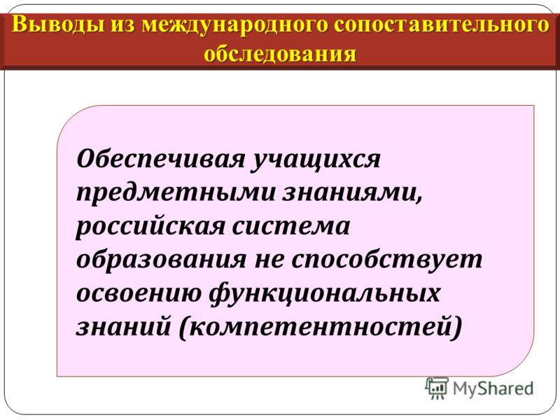 Обеспечивая учащихся предметными знаниями, российская система образования не способствует освоению функциональных знаний ( компетентностей ) Выводы из международного сопоставительного обследования