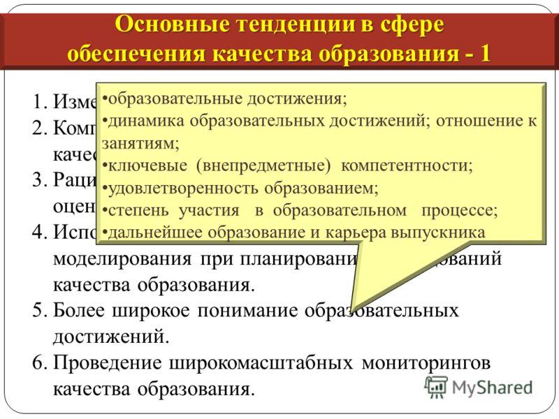 1.Изменение подхода к качеству образования. 2.Комплексное рассмотрение проблем управления качеством образования. 3.Рациональное использование элементов системы оценки качества. 4.Использование многоуровневого системного моделирования при планировании