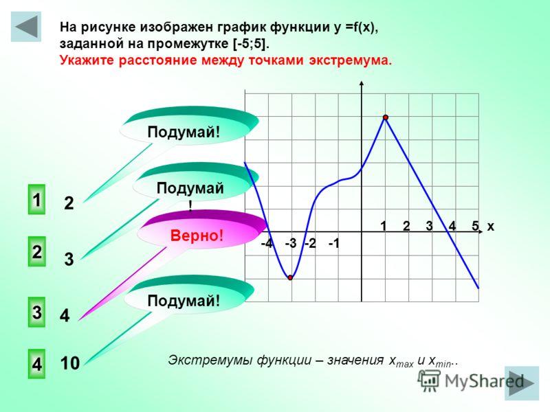 -4 -3 -2 -1 1 2 3 4 5 х На рисунке изображен график функции у =f(x), заданной на промежутке [-5;5]. Укажите расстояние между точками экстремума. 3 2 4 1 Подумай! Верно! Подумай ! Экстремумы функции – значения x max и x min.. 2 3 4 10