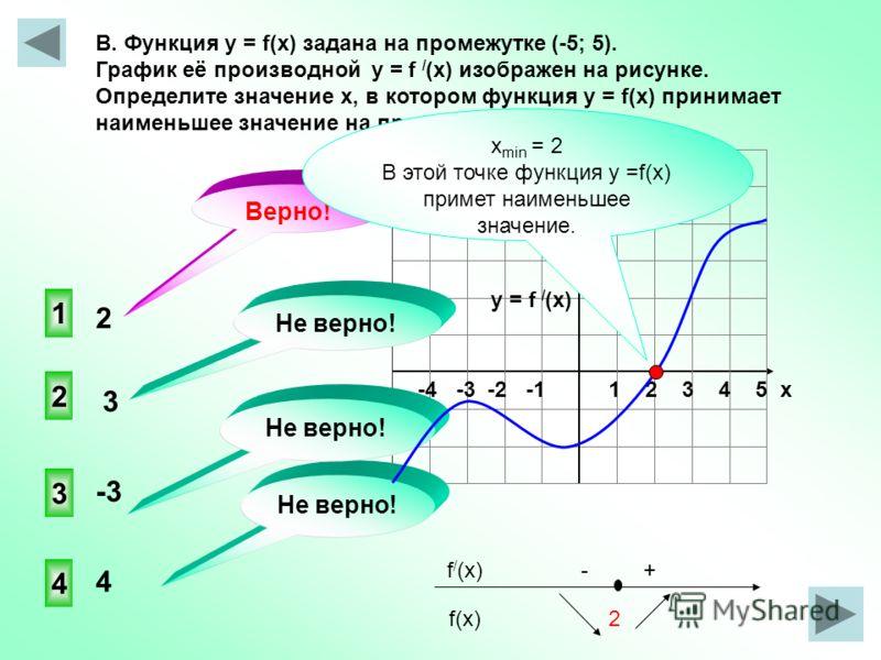 -4 -3 -2 -1 1 2 3 4 5 х В. Функция y = f(x) задана на промежутке (-5; 5). График её производной y = f / (x) изображен на рисунке. Определите значение х, в котором функция у = f(x) принимает наименьшее значение на промежутке ( -5; 5). 1 3 4 2 Не верно