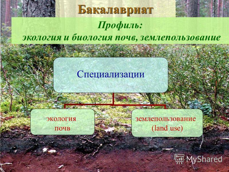 Специализации экология почв землепользование (land use) Профиль: экология и биология почв, землепользование Бакалавриат
