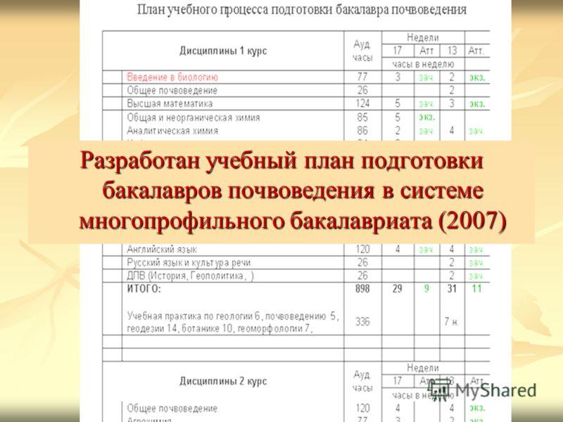 Разработан учебный план подготовки бакалавров почвоведения в системе многопрофильного бакалавриата (2007)