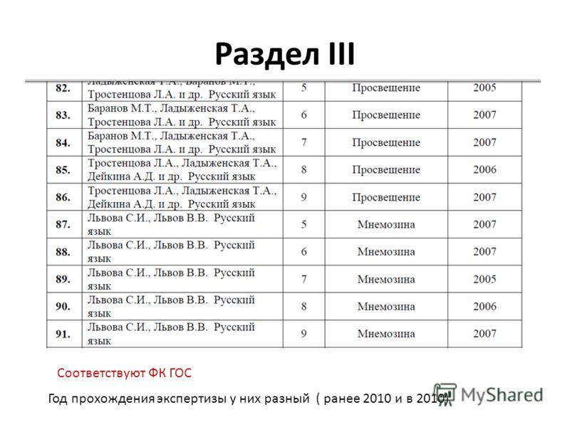 Раздел III Год прохождения экспертизы у них разный ( ранее 2010 и в 2010) Соответствуют ФК ГОС
