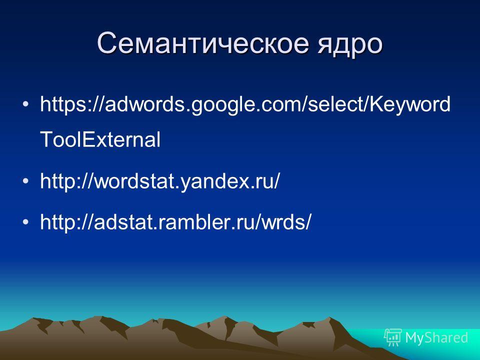 Семантическое ядро https://adwords.google.com/select/Keyword ToolExternal http://wordstat.yandex.ru/ http://adstat.rambler.ru/wrds/