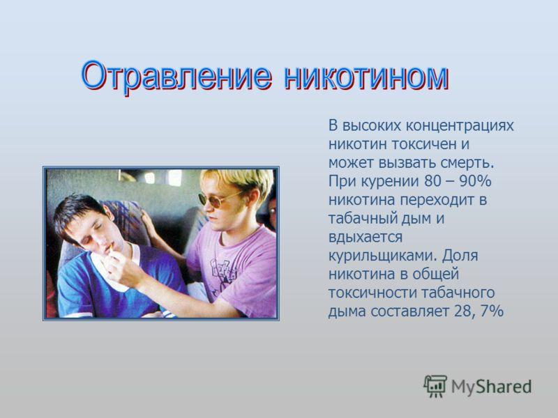 В высоких концентрациях никотин токсичен и может вызвать смерть. При курении 80 – 90% никотина переходит в табачный дым и вдыхается курильщиками. Доля никотина в общей токсичности табачного дыма составляет 28, 7%