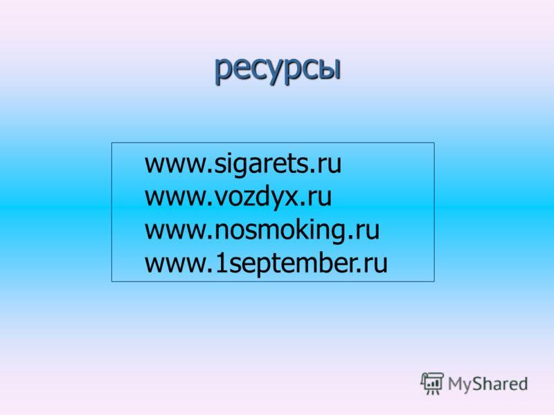ресурсы www.sigarets.ru www.vozdyx.ru www.nosmoking.ru www.1september.ru