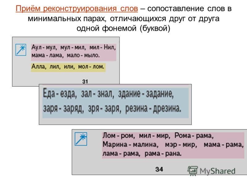 Приём реконструирования слов – сопоставление слов в минимальных парах, отличающихся друг от друга одной фонемой (буквой)
