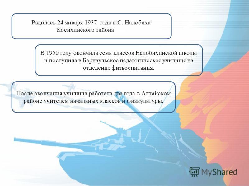 Родилась 24 января 1937 года в С. Налобиха Косихинского района года В 1950 году окончила семь классов Налобихинской школы и поступила в Барнаульское педагогическое училище на отделение физвоспитания. После окончания училища работала два года в Алтайс
