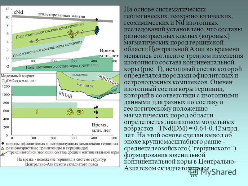 На основе систематических геологических, геохронологических, геохимических и Nd изотопных исследований установлено, что составы разновозрастных кислых (коровых) магматических пород герцинской области Центральной Азии во времени менялись согласно с тр