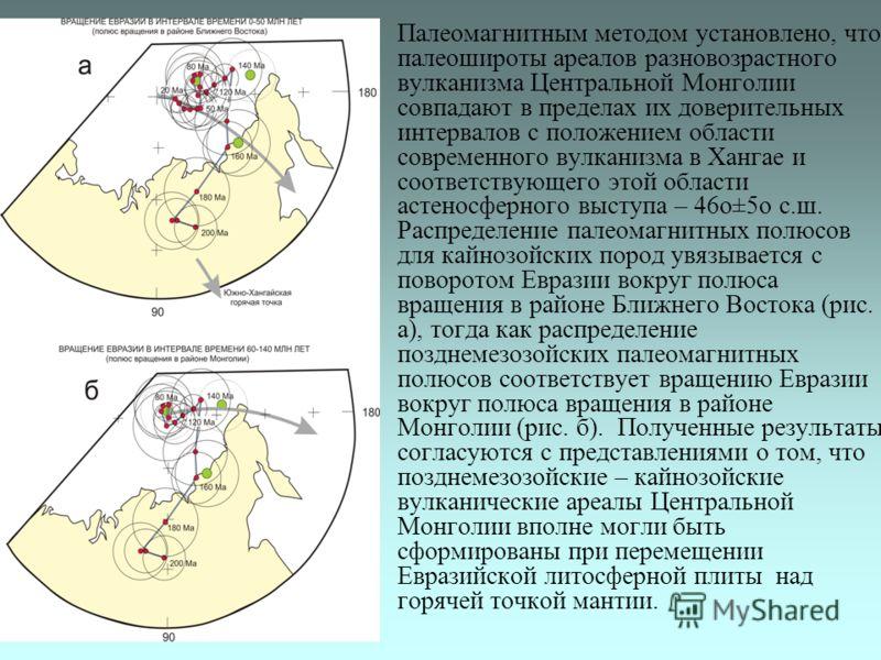 Палеомагнитным методом установлено, что палеошироты ареалов разновозрастного вулканизма Центральной Монголии совпадают в пределах их доверительных интервалов с положением области современного вулканизма в Хангае и соответствующего этой области астено