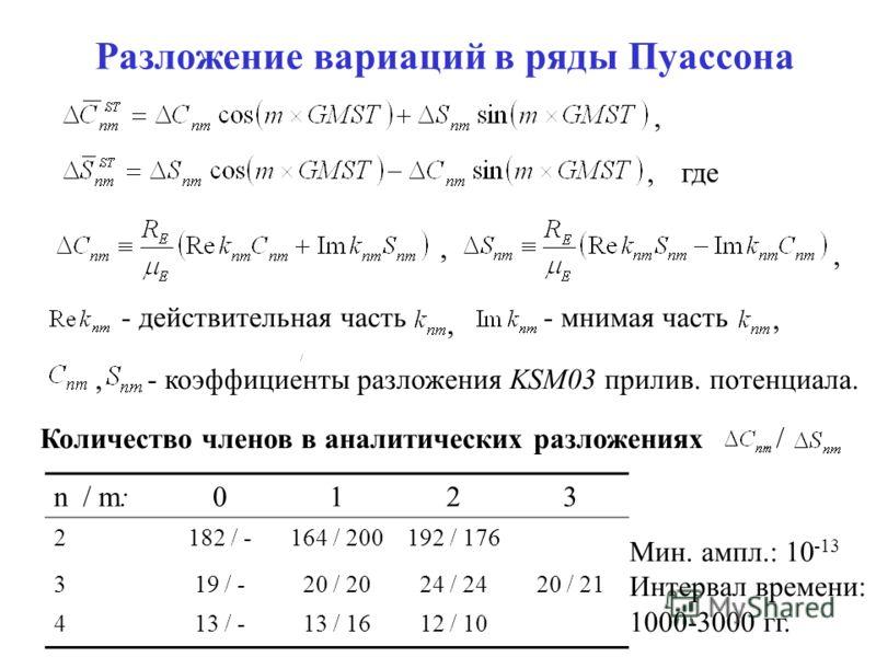 Разложение вариаций в ряды Пуассона где,,,, - действительная часть- мнимая часть,,- коэффициенты разложения KSM03 прилив. потенциала. n / m:0123 2182 / -164 / 200192 / 176 319 / -20 / 2024 / 2420 / 21 413 / -13 / 1612 / 10 Количество членов в аналити