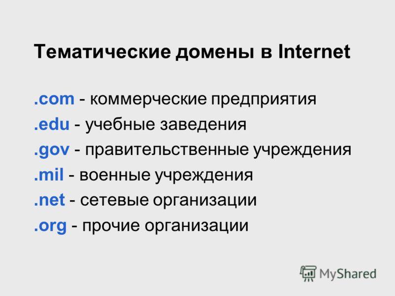 Тематические домены в Internet.com - коммерческие предприятия.edu - учебные заведения.gov - правительственные учреждения.mil - военные учреждения.net - сетевые организации.org - прочие организации