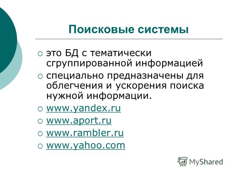 Поисковые системы это БД с тематически сгруппированной информацией специально предназначены для облегчения и ускорения поиска нужной информации. www.yandex.ru www.aport.ru www.rambler.ru www.yahoo.com