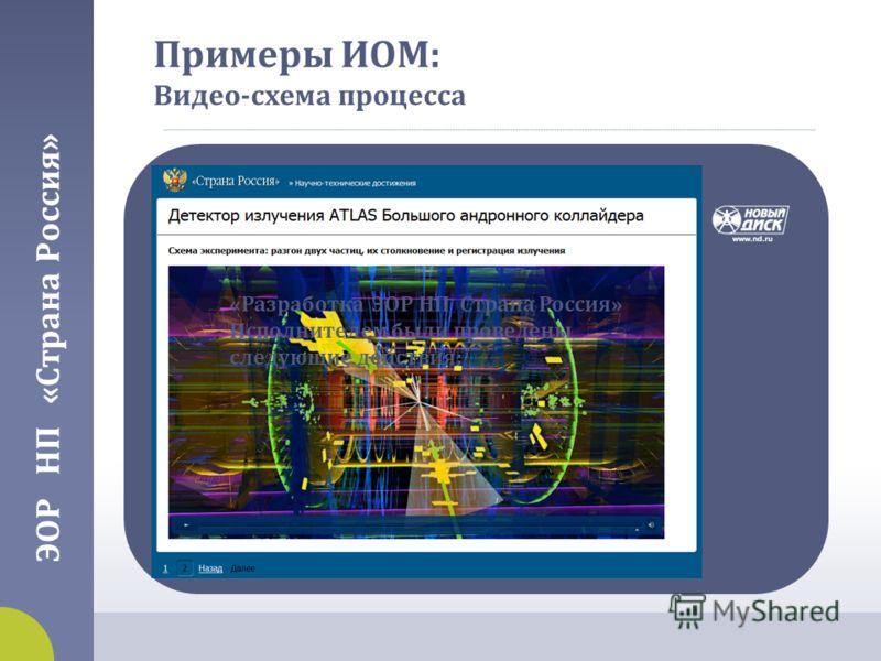 Примеры ИОМ : Видео - схема процесса ЭОР НП « Страна Россия » « Разработка ЭОР НП Страна Россия » Исполнителем были проведены следующие действия :
