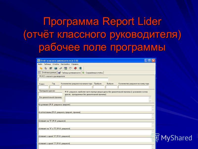 Программа Report Lider (отчёт классного руководителя) рабочее поле программы