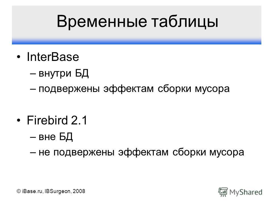 © iBase.ru, IBSurgeon, 2008 Временные таблицы InterBase –внутри БД –подвержены эффектам сборки мусора Firebird 2.1 –вне БД –не подвержены эффектам сборки мусора