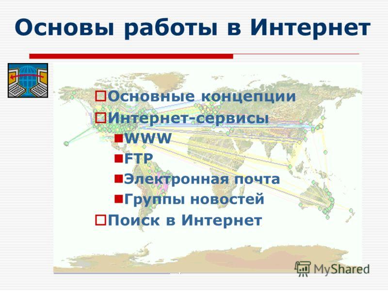 Основы работы в Интернет Основные концепции Интернет-сервисы WWW FTP Электронная почта Группы новостей Поиск в Интернет