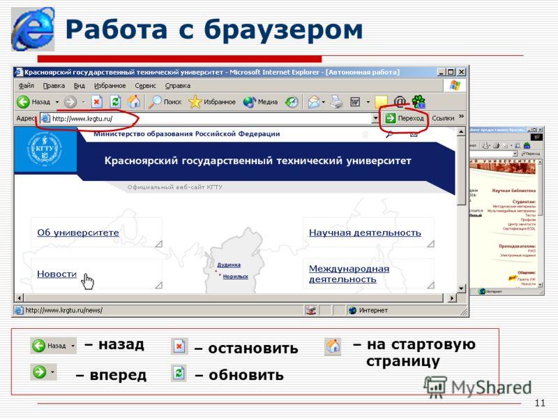 11 Работа с браузером – назад – вперед – остановить – обновить – на стартовую страницу