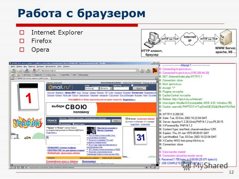 12 Работа с браузером Internet Explorer Firefox Opera