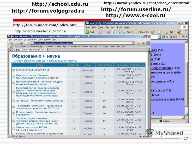 17 http://forum.anort.com/index.htm http://narod.yandex.ru/chat/chat_enter.xhtml http://narod.yandex.ru/rubrics/ http://forum.userline.ru/ http://forum.volgograd.ru http://www.s-cool.ru http://school.edu.ru