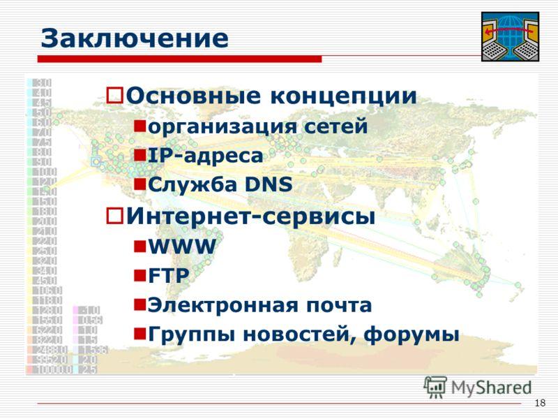 18 Заключение Основные концепции организация сетей IP-адреса Служба DNS Интернет-сервисы WWW FTP Электронная почта Группы новостей, форумы