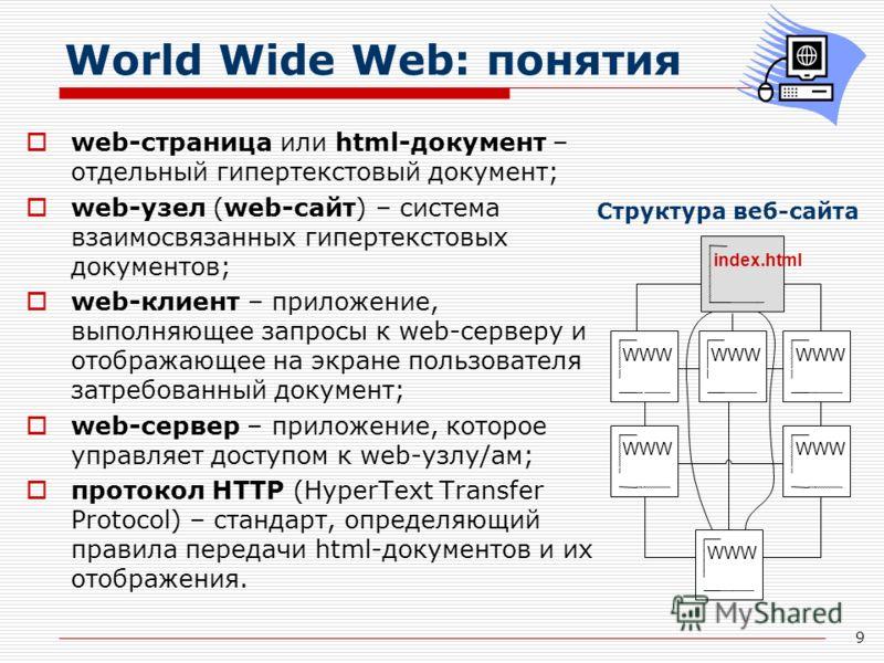 9 World Wide Web: понятия web-страница или html-документ – отдельный гипертекстовый документ; web-узел (web-сайт) – система взаимосвязанных гипертекстовых документов; web-клиент – приложение, выполняющее запросы к web-серверу и отображающее на экране