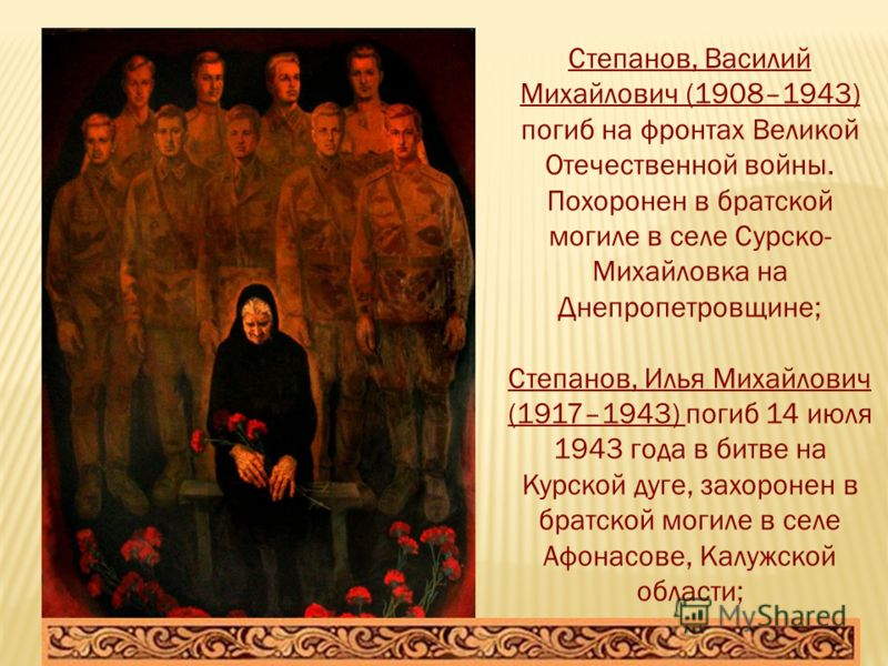 Степанов, Василий Михайлович (1908–1943) погиб на фронтах Великой Отечественной войны. Похоронен в братской могиле в селе Сурско- Михайловка на Днепропетровщине; Степанов, Илья Михайлович (1917–1943) погиб 14 июля 1943 года в битве на Kyрской дуге, з