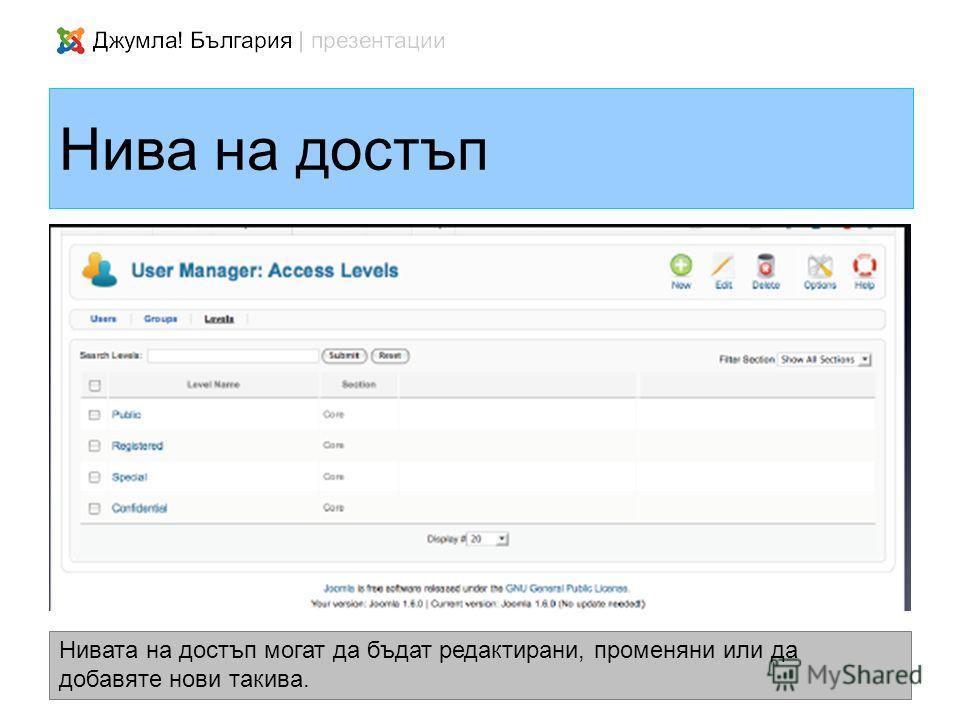 Нива на достъп Нивата на достъп могат да бъдат редактирани, променяни или да добавяте нови такива.