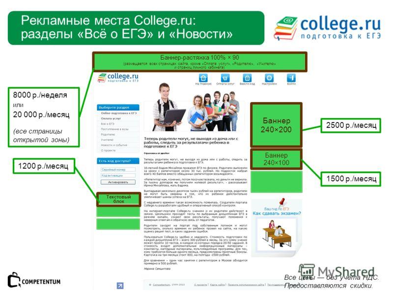 Рекламные места College.ru: разделы «Всё о ЕГЭ» и «Новости» Баннер 240×100 Баннер-растяжка 100% × 90 (размещается всех страницах сайта, кроме «Оплата услуг», «Родителю», «Учителю» и страниц личного кабинета) Текстовый блок 1200 р./месяц 2500 р./месяц
