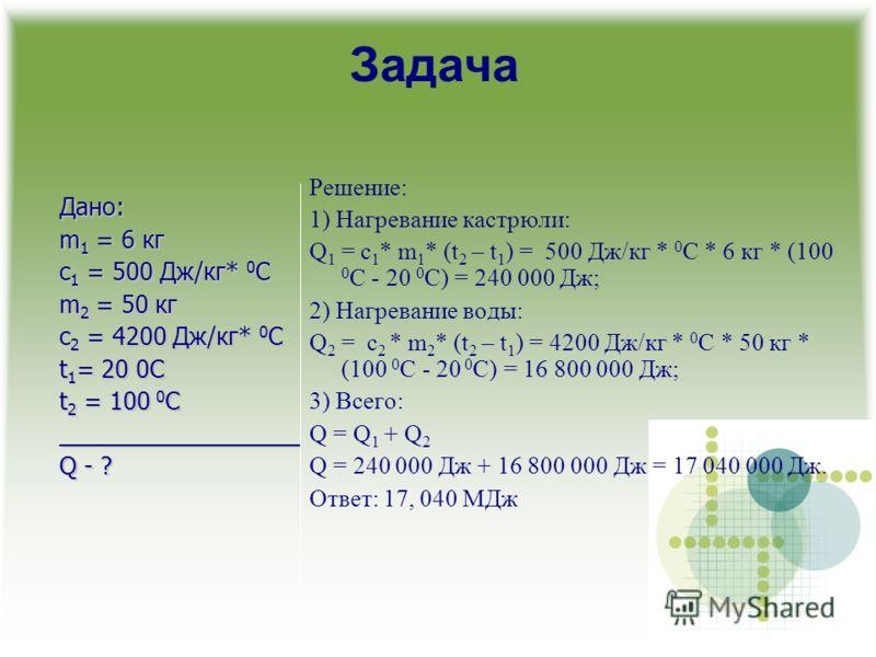 Задача Решение: 1) Нагревание кастрюли: Q 1 = с 1 * m 1 * (t 2 – t 1 ) = 500 Дж/кг * 0 С * 6 кг * (100 0 C - 20 0 C) = 240 000 Дж; 2) Нагревание воды: Q 2 = с 2 * m 2 * (t 2 – t 1 ) = 4200 Дж/кг * 0 С * 50 кг * (100 0 C - 20 0 C) = 16 800 000 Дж; 3)