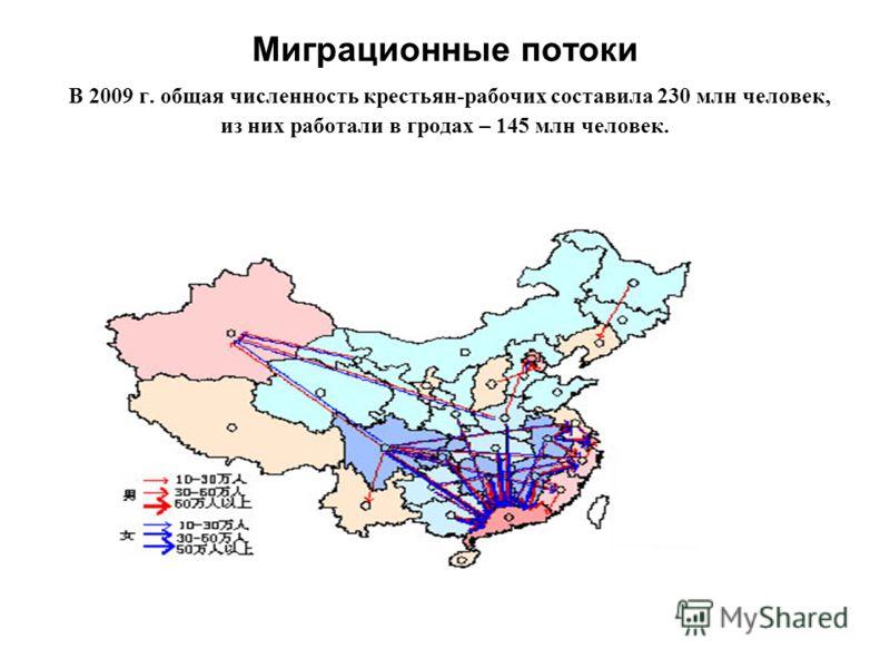 Миграционные потоки В 2009 г. общая численность крестьян-рабочих составила 230 млн человек, из них работали в гродах – 145 млн человек.