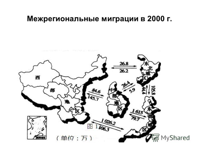 Межрегиональные миграции в 2000 г.