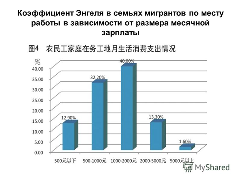 Коэффициент Энгеля в семьях мигрантов по месту работы в зависимости от размера месячной зарплаты