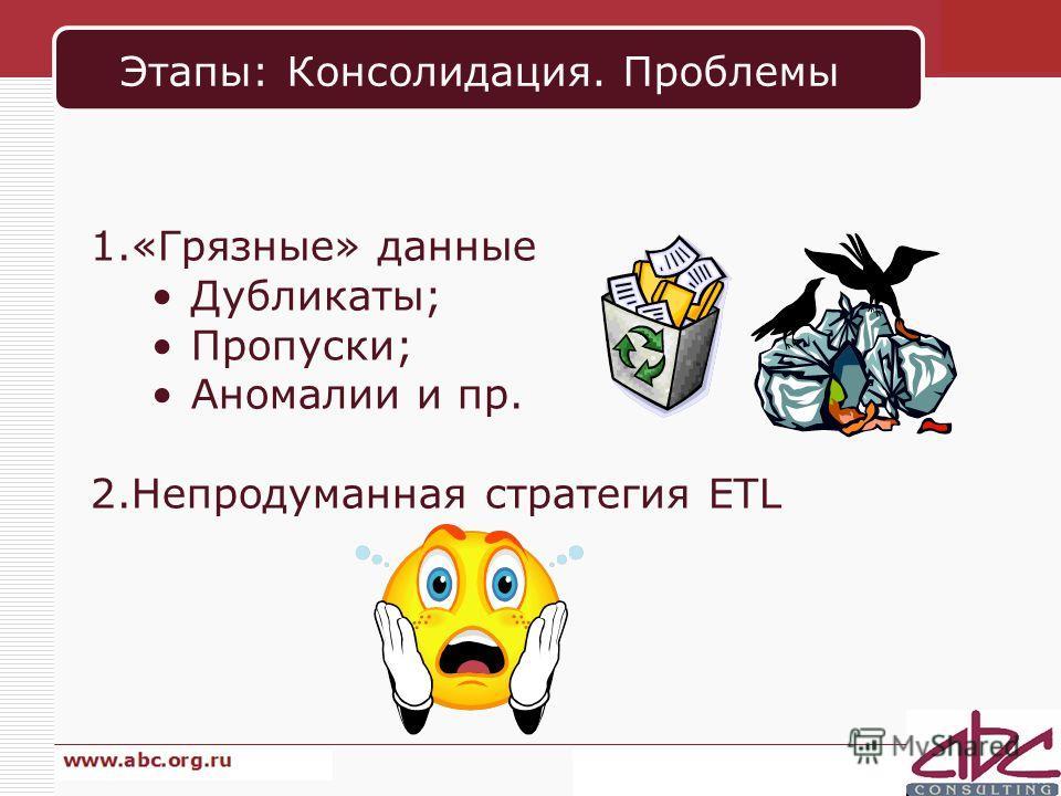 Этапы: Консолидация. Проблемы 1.«Грязные» данные Дубликаты; Пропуски; Аномалии и пр. 2.Непродуманная стратегия ETL