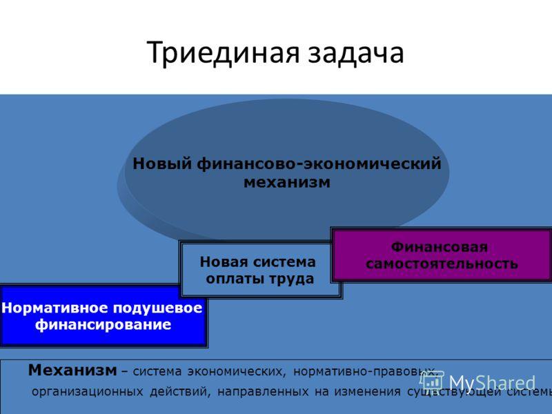 Триединая задача Новый финансово-экономический механизм Нормативное подушевое финансирование Новая система оплаты труда Финансовая самостоятельность Механизм – система экономических, нормативно-правовых, организационных действий, направленных на изме