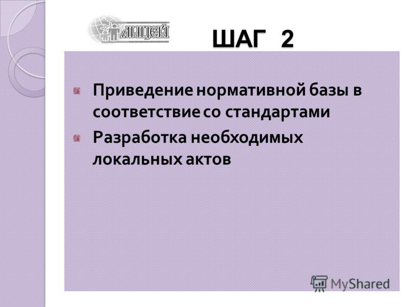 ШАГ 2 ШАГ 2 Приведение нормативной базы в соответствие со стандартами Разработка необходимых локальных актов