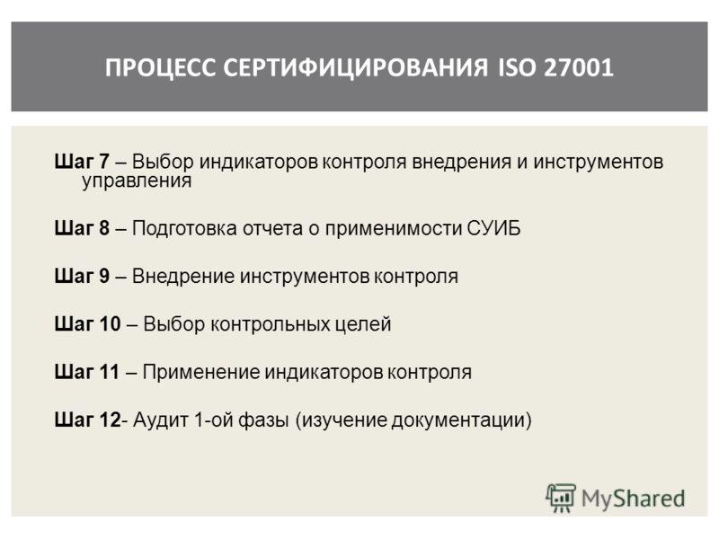 ПРОЦЕСС СЕРТИФИЦИРОВАНИЯ ISO 27001 Шаг 7 – Выбор индикаторов контроля внедрения и инструментов управления Шаг 8 – Подготовка отчета о применимости СУИБ Шаг 9 – Внедрение инструментов контроля Шаг 10 – Выбор контрольных целей Шаг 11 – Применение индик
