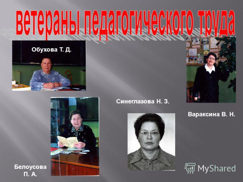 Обухова Т. Д. Белоусова П. А. Вараксина В. Н. Синеглазова Н. З.