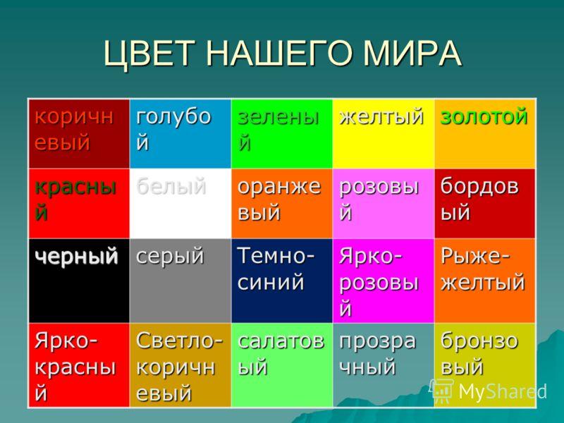 ЦВЕТ НАШЕГО МИРА коричн евый голубо й зелены й желтыйзолотой красны й белый оранже вый розовы й бордов ый черныйсерый Темно- синий Ярко- розовы й Рыже- желтый Ярко- красны й Светло- коричн евый салатов ый прозра чный бронзо вый