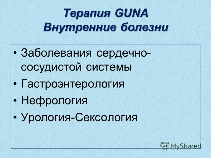 Терапия GUNA Внутренние болезни Заболевания сердечно- сосудистой системы Гастроэнтерология Нефрология Урология-Сексология
