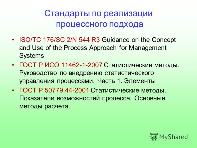 Стандарты по реализации процессного подхода ISO/ТС 176/SC 2/N 544 R3 Guidance on the Concept and Use of the Process Approach for Management Systems ГОСТ Р ИСО 11462-1-2007 Статистические методы. Руководство по внедрению статистического управления про