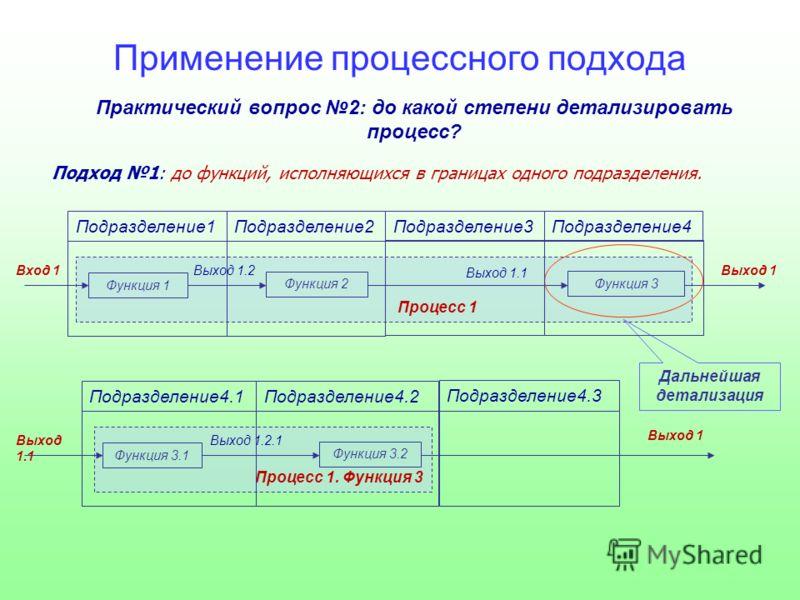 Практический вопрос 2: до какой степени детализировать процесс? Подход 1: до функций, исполняющихся в границах одного подразделения. Процесс 1 Подразделение1Подразделение2Подразделение3Подразделение4 Выход 1 Функция 3 Выход 1.1 Функция 2 Выход 1.2 Фу