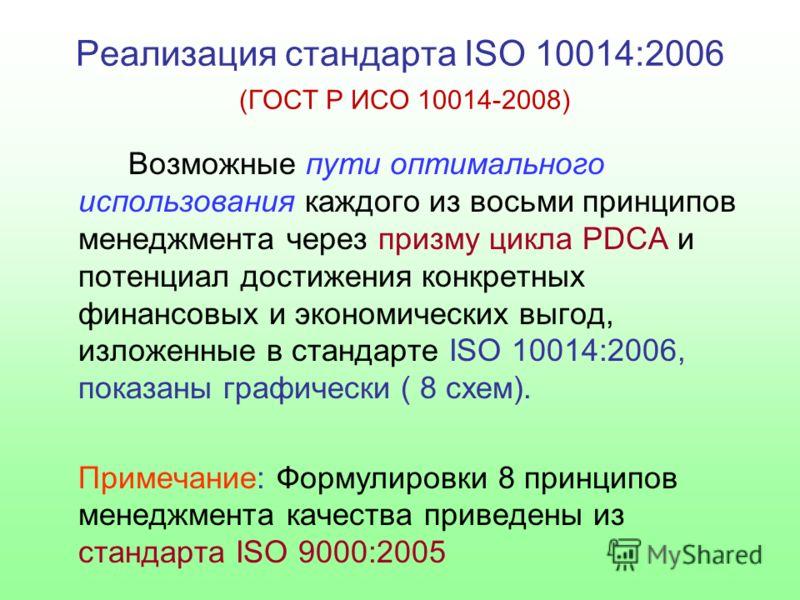 Реализация стандарта ISO 10014:2006 (ГОСТ Р ИСО 10014-2008) Возможные пути оптимального использования каждого из восьми принципов менеджмента через призму цикла PDCA и потенциал достижения конкретных финансовых и экономических выгод, изложенные в ста