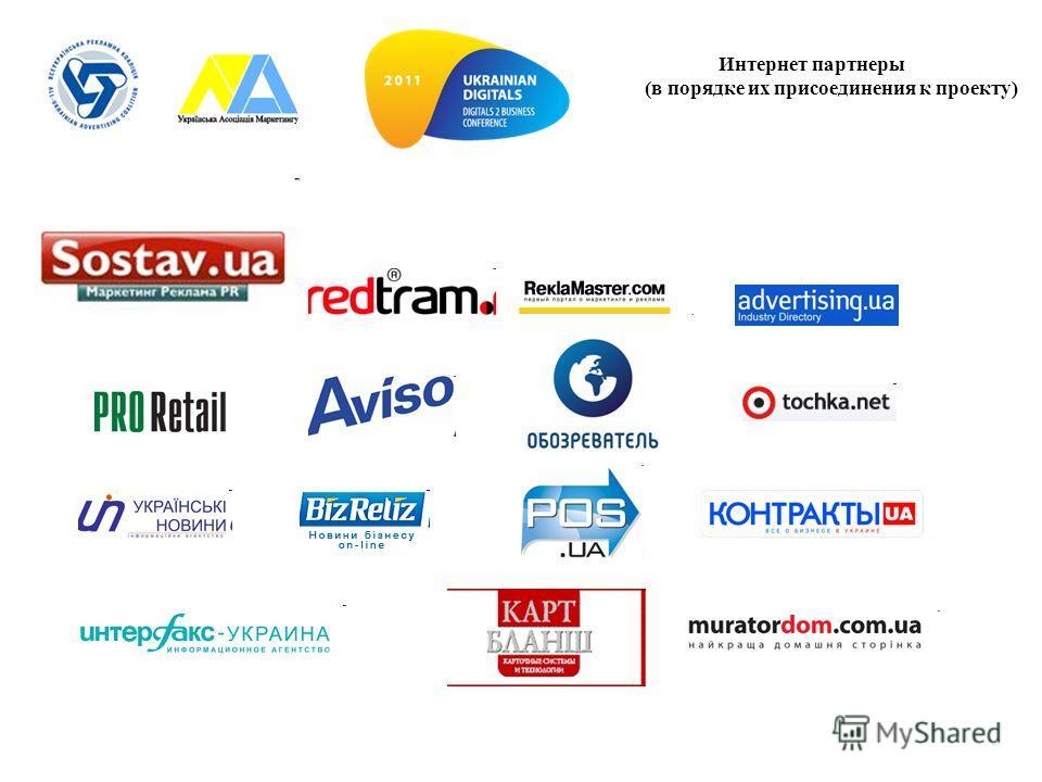 Интернет партнеры (в порядке их присоединения к проекту)