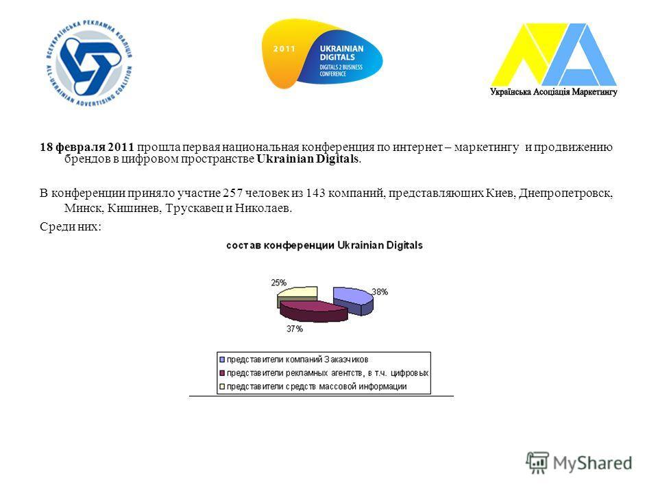 18 февраля 2011 прошла первая национальная конференция по интернет – маркетингу и продвижению брендов в цифровом пространстве Ukrainian Digitals. В конференции приняло участие 257 человек из 143 компаний, представляющих Киев, Днепропетровск, Минск, К