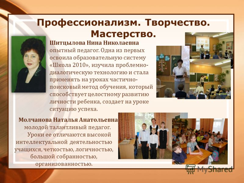 Профессионализм. Творчество. Мастерство. Шитцылова Нина Николаевна опытный педагог. Одна из первых освоила образовательную систему «Школа 2010», изучила проблемно- диалогическую технологию и стала применять на уроках частично- поисковый метод обучени