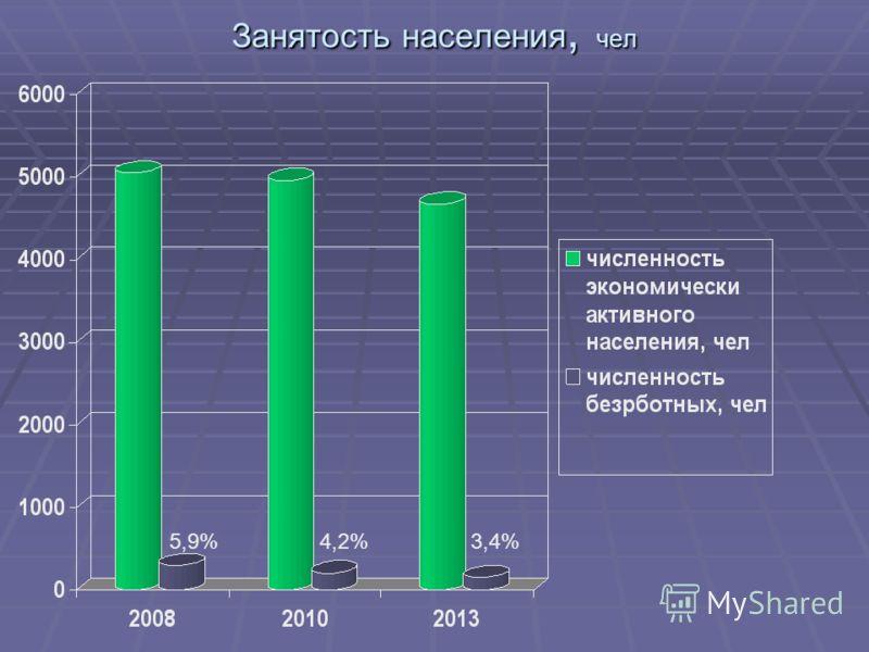Занятость населения, чел 5,9%4,2%3,4%