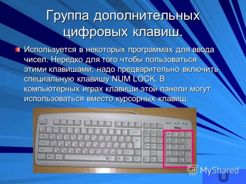 Группа дополнительных цифровых клавиш. Используется в некоторых программах для ввода чисел. Нередко для того чтобы пользоваться этими клавишами, надо предварительно включить специальную клавишу NUM LOCK. В компьютерных играх клавиши этой панели могут