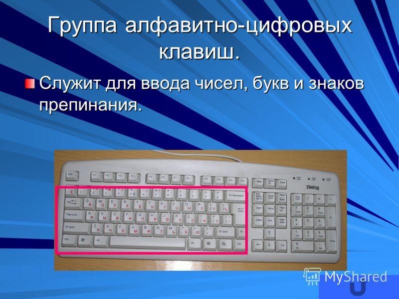 Группа алфавитно-цифровых клавиш. Служит для ввода чисел, букв и знаков препинания.