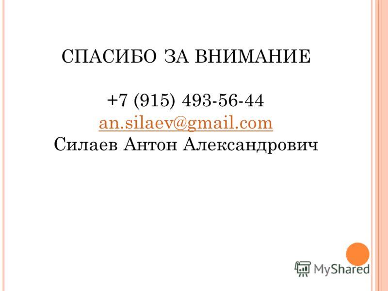 СПАСИБО ЗА ВНИМАНИЕ +7 (915) 493-56-44 an.silaev@gmail.com Силаев Антон Александрович